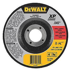 "DeWalt 6"" Type 27 Ceramic Cut-Off Wheel, 7/8"" Arbor, 1/16"", 10,100 RPM"