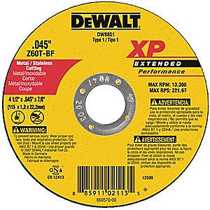 "DeWalt 6"" Type 1 Zirconia Alumina Cut-Off Wheel, 7/8"" Arbor, 0.045"", 10,100 RPM"