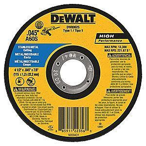 "DeWalt 7"" Type 1 Aluminum Oxide Cut-Off Wheel, 7/8"" Arbor, 0.045"", 8700 RPM"