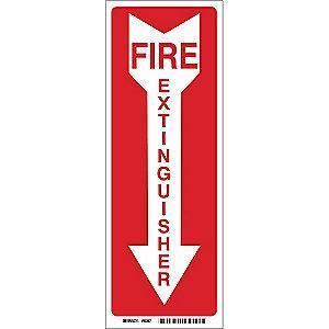 "Brady Fire Equipment Sign, Polyester, 14"" x 3.5"", Adhesive, Not Retroreflective"