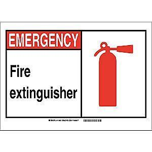 "Brady Fire Equipment Sign, Emergency, Plastic, 14"" x 10"", Not Retroreflective"