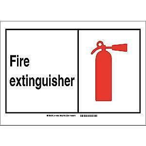 "Brady Fire Equipment Sign, Polyester, 14"" x 10"", Adhesive, Not Retroreflective"