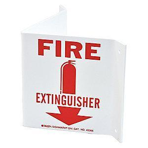 "Brady Fire Equipment Sign, Plastic, 5.5"" x 10"", Not Retroreflective"