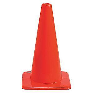 "Brady Traffic Cone, 18"" Cone Height, Orange, Vinyl"