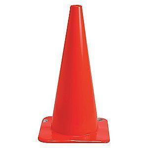 "Brady Traffic Cone, 28"" Cone Height, Orange, Vinyl"