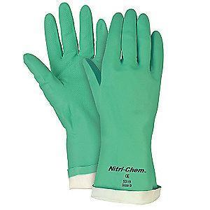 MCR Chemical Resistant Gloves, Flock Lining, Green, PR 1