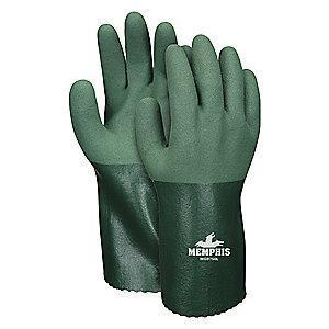 MCR Chemical Resistant Gloves, Cotton/Polyester Lining, Green, PK 12
