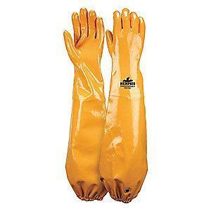 MCR Chemical Resistant Gloves, Cotton Lining, Yellow, PR 1