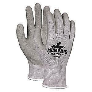MCR 10 Gauge Crinkled Natural Rubber Latex Coated Gloves, L, Gray