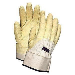 MCR 7 Gauge Crinkled Natural Rubber Latex Coated Gloves, L, Amber/Natural