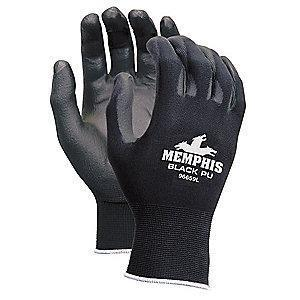 MCR 13 Gauge Flat Polyurethane Coated Gloves, M, Black/Black
