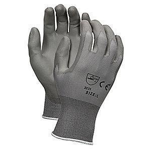 MCR 13 Gauge Flat Polyurethane Coated Gloves, M, Gray
