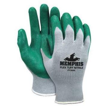 MCR 10 Gauge Flat Nitrile Coated Gloves, M, Gray/Green