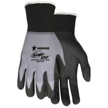 MCR 15 Gauge Foam Nitrile Coated Gloves, XL, Gray/Black