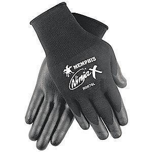 MCR 15 Gauge Smooth Biopolymer Coated Gloves, L, Black