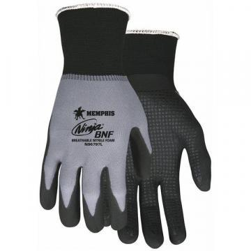 MCR 15 Gauge Dotted Nitrile Coated Gloves, M, Gray/Black