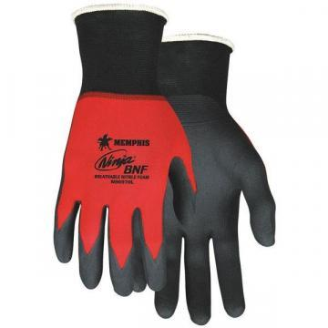 MCR 18 Gauge Foam Nitrile Coated Gloves, L, Black/Red