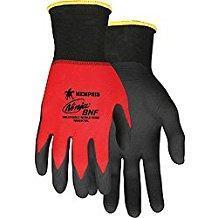 MCR 18 Gauge Foam Nitrile Coated Gloves, M, Black/Red