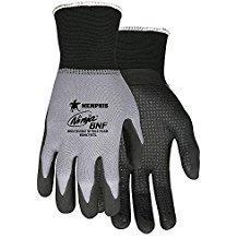 MCR 15 Gauge Dotted Nitrile Coated Gloves, 2XL, Gray/Black