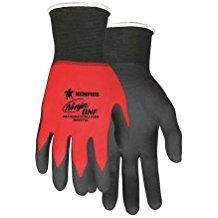 MCR 18 Gauge Foam Nitrile Coated Gloves, XS, Black/Red