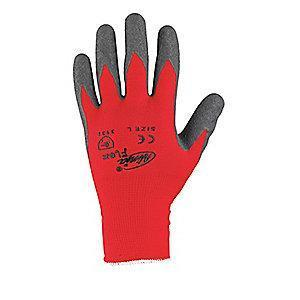 MCR 15 Gauge Crinkled Natural Rubber Latex Coated Gloves, M, Gray/Red