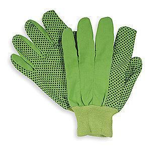 Condor Cotton Canvas Gloves, Knit Cuff, 8 oz., Green, L