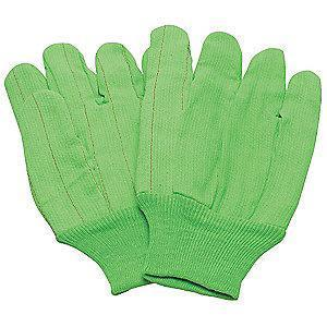 Condor Cotton Canvas Gloves, Knit Cuff, 9 oz., Green, L