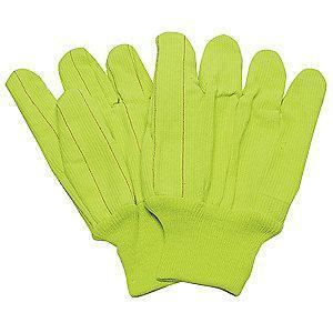 Condor Cotton Canvas Gloves, Knit Cuff, 9 oz., Yellow, L, PR 1