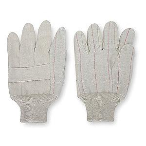 Condor Cotton/Polyester Canvas Gloves, Knit Cuff, 12 oz., Natural, L, PR 1