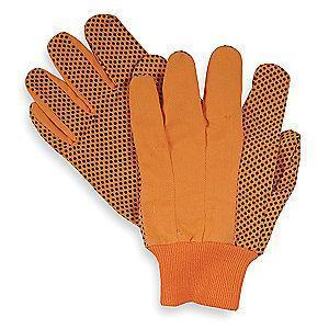 Condor Cotton Canvas Gloves, Knit Cuff, 8 oz., Orange, S, PR 1