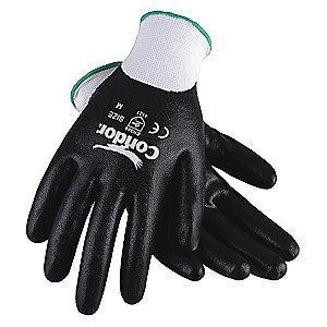 Condor 13 Gauge Smooth Nitrile Coated Gloves, Glove Size: 2XL, White/Black