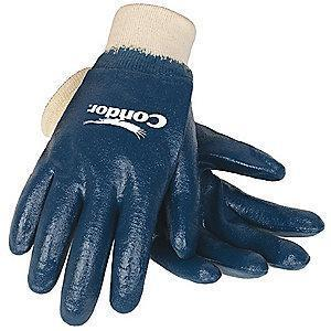 Condor Flat Nitrile Coated Gloves, Glove Size: S, Natural/Blue