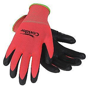 Condor 13 Gauge Foam Nitrile Coated Gloves, Glove Size: S, Red/Black