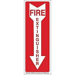 "Condor Fire Equipment Sign, Vinyl, 14"" x 5"", Adhesive Surface"