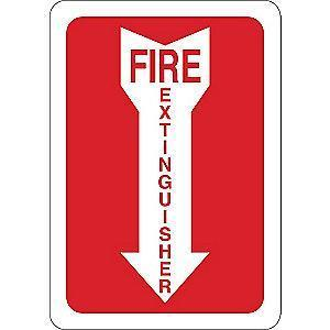 "Condor Fire Equipment Sign, Vinyl, 10"" x 7"", Adhesive Surface"
