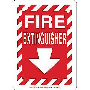 "Condor Fire Equipment Sign, Plastic, 14"" x 10"", With Mounting Holes"