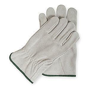 Condor Cowhide Leather Driver's Gloves with Shirred Cuff, Gray, L