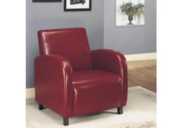 Monarch Accent Chair - Burgundy Leather-Look Fabric
