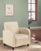 Monarch Leather-Look Accent Chair - Beige