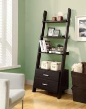 "Monarch 69"" Ladder Bookcase with Two Storage Drawers in Cappuccino"