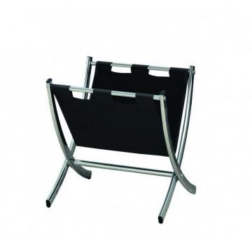 Monarch Magazine Rack - Dark Brown Leather-Look / Chrome Metal