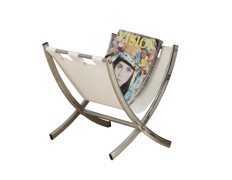 Monarch Magazine Rack - White Leather-Look / Chrome Metal