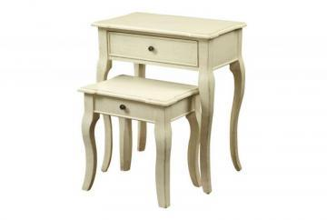 Monarch Nesting Table - 2Pcs Set / Antique White Veneer