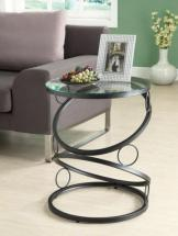 Monarch Accent Table - Matte Black Metal With Tempered Glass