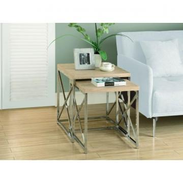 Monarch Nesting Table - 2Pcs Set / Natural With Chrome Metal