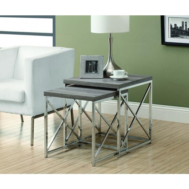 Monarch Nesting Table - 2Pcs Set / Dark Taupe With Chrome Metal