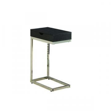 Monarch Accent Table - Cappuccino / Chrome Metal With A Drawer