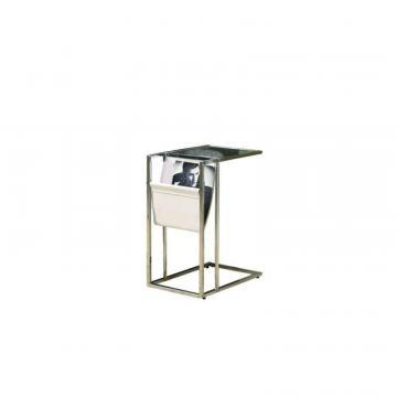Monarch Accent Table - White / Chrome Metal With A Magazine Rack