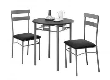 Monarch Dining Set - 3Pcs Set / Black / Silver Metal