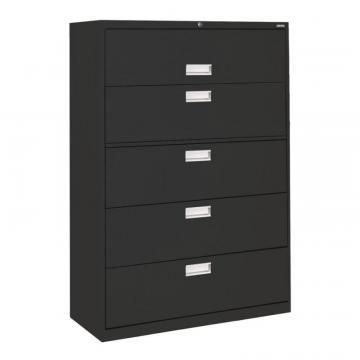 Sandusky 600 Series 5 Drawer Lateral File Black Color